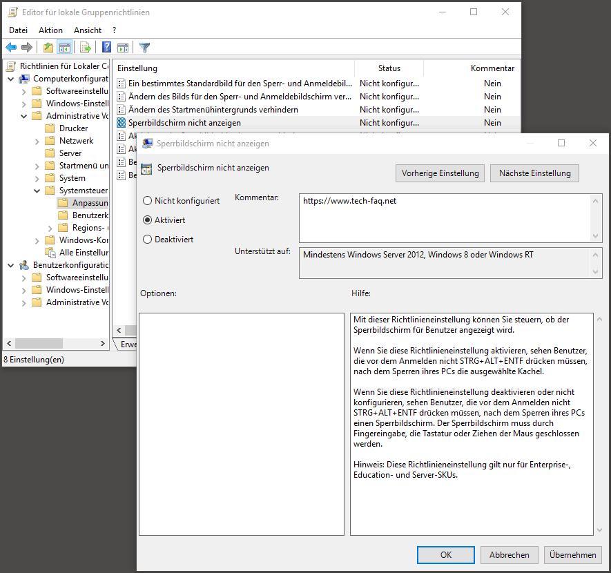 Sperrbildschirm deaktivieren Windows 10