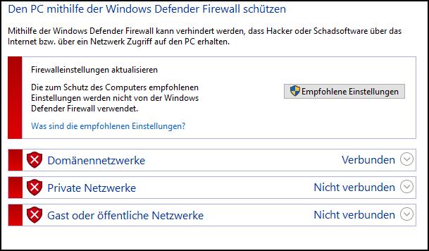 Windows Firewall ausschalten