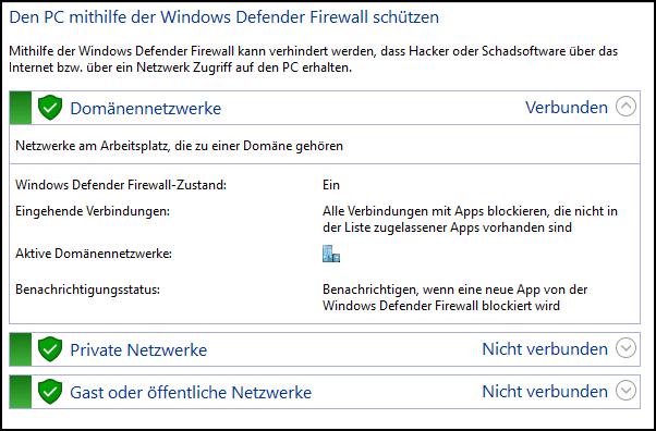 Windows Firewall einschalten