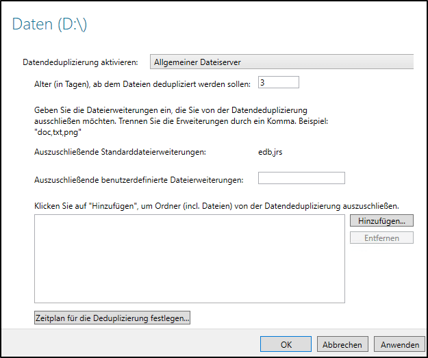 Deduplizierung aktivieren Windows Server 2019