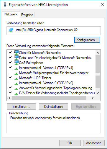 Bindungen Interface Livemigration Hyper-V Cluster