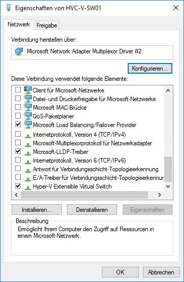 Bindungen der VM-Switch Netzwerkadapter am Hyper-V Host