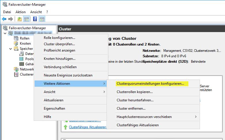 Hyper-V Cluster Quorum konfigurieren