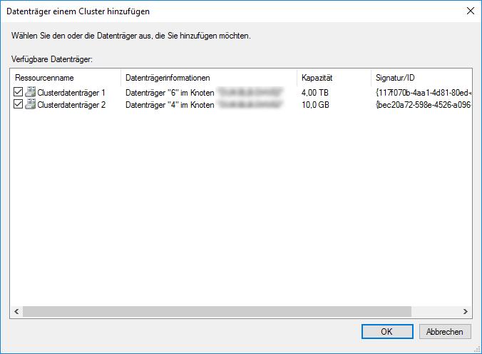 Hyper-V Cluster Datenträger hinzufügen