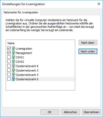 Hyper-V Livemigration Konfiguration