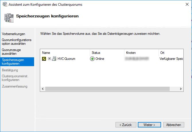 Datenträger für Hyper-V Quorum