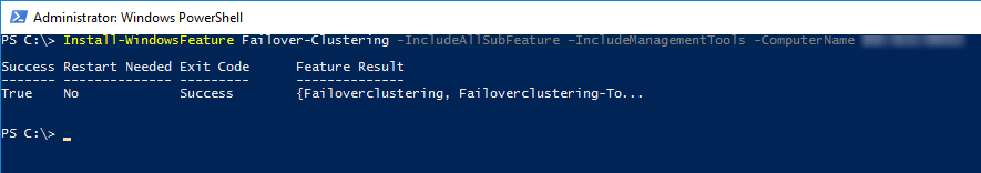 Installation Feature Failoverclustering per PowerShell