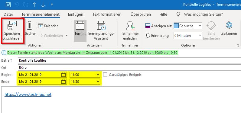 Outlook Serientermin Eintrag ändern