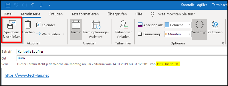 Outlook Serientermin editieren