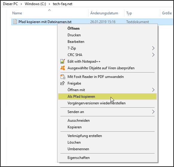 Pfad mit Dateinamen kopieren
