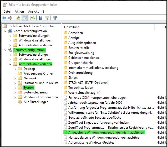 Angegebene Windows Anwendungen nicht ausführen