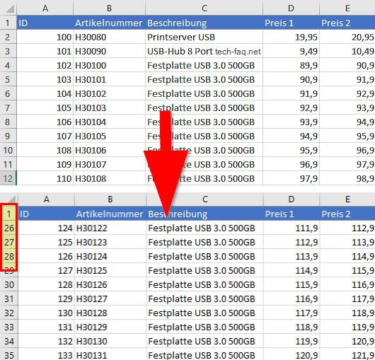 Oberste Excel Zeile einfrieren