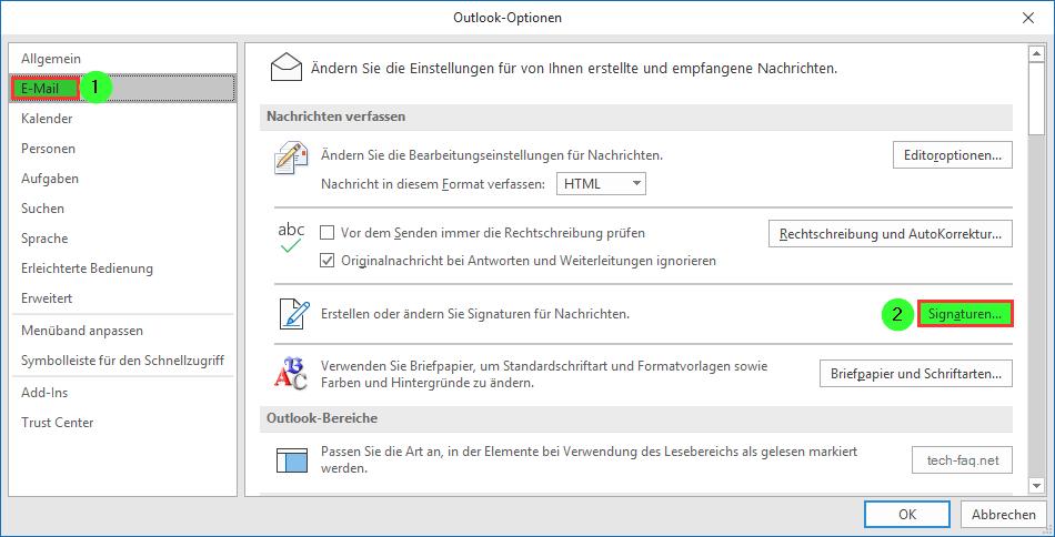 Microsoft Outlook E-Mailoptionen