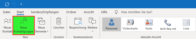 Outlook Verteiler anlegen