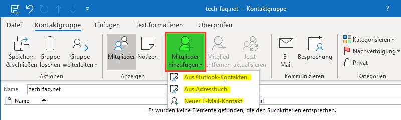 Outlook Verteiler bearbeiten