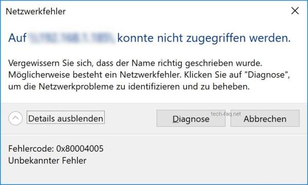 0x80004005 Netzwerkfehler