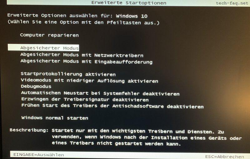 Abgesicherter Modus mit F8 starten in Windows 10