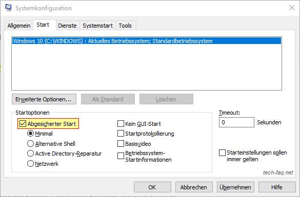 Abgesicherter Start von Windows 10 mit msconfig