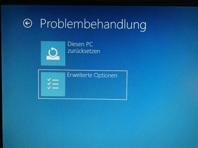 Windows 10 Problembehandlung Erweitere Optionen