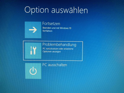 Windows 10 Problembehandlung starten