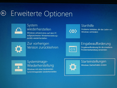 Windows 10 Starteinstellungen - Abgesicherter Modus
