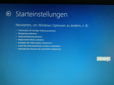 Windows 10 in die Starteinstellungen booten