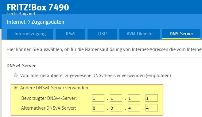 Der DNS-Server antwortet nicht - Ändern des DNS in der FritzBox