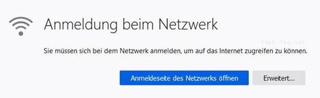 Anmeldung am Netzwerk - Firefox