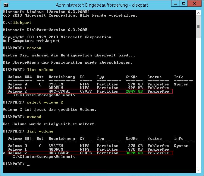 CSV erweitern im Hyper-V Cluster