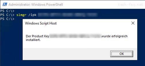 Per PowerShell den Windows Produktkey eingeben
