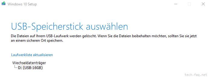 Stick für Windows Installation