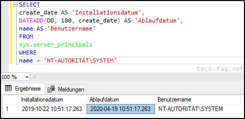 Wann läuft die SQL-Server Testlizenz ab
