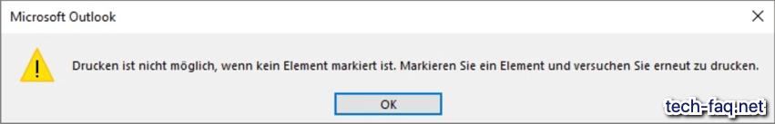 Drucken ist nicht möglich - Microsoft Outlook
