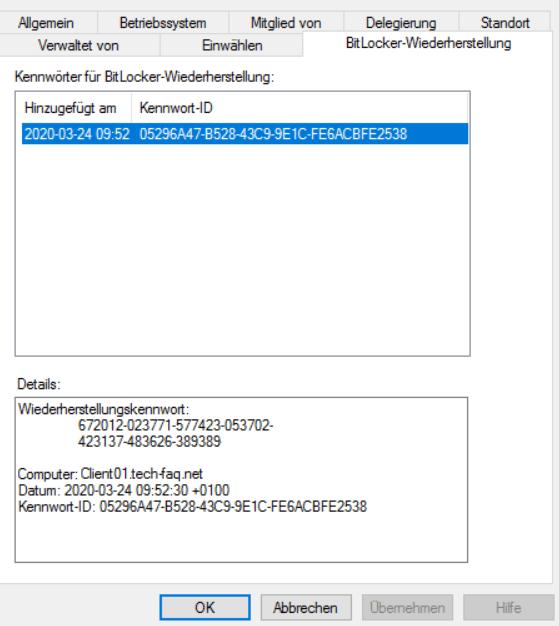 BitLocker Wiederherstellungsschlüssel im AD