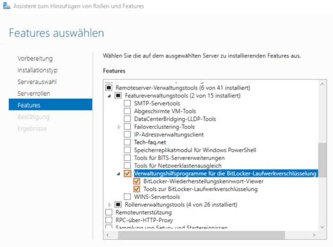 Bitlocker Feature installieren