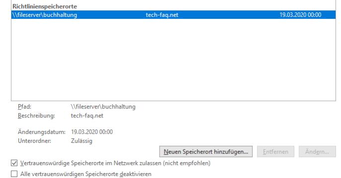 Richtlinienspeicherorte Microsoft Office