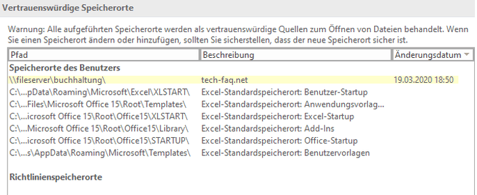 Speicherorte des Benutzers - MS Office