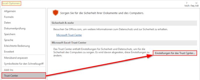 Trust Center öffnen in Microsoft Office