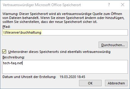 Vertrauenswürdiger Microsoft Office Speicherort
