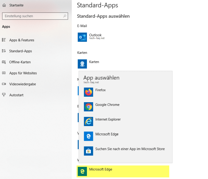 Standard-Apps: Standardbrowser von Windows 10 ändern.