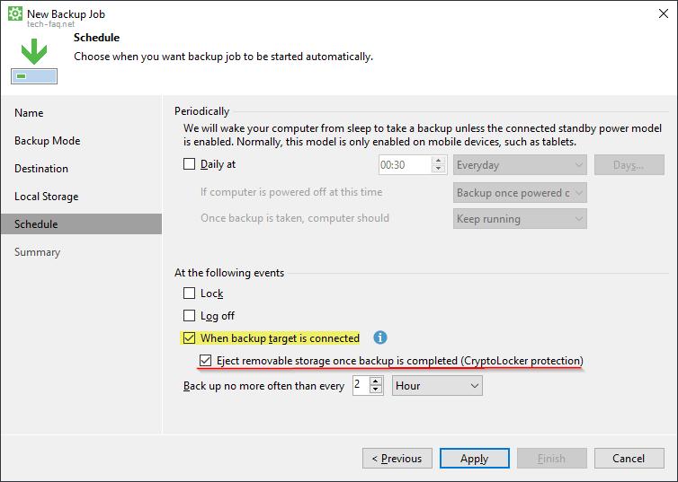 Backup auf externe Festplatte starten, wenn diese angeschlossen wird