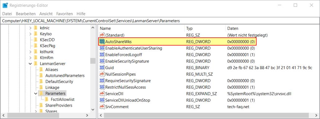 Administrative Freigaben deaktivieren in Windows Registry