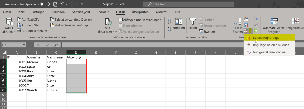 Dropdown / Excel Auswahlliste erstellen