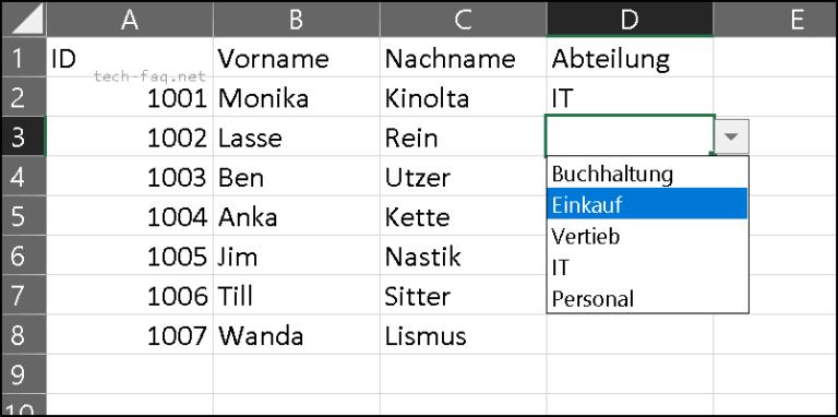 Eine Excel Auswahlliste erstellen (Dropdown)