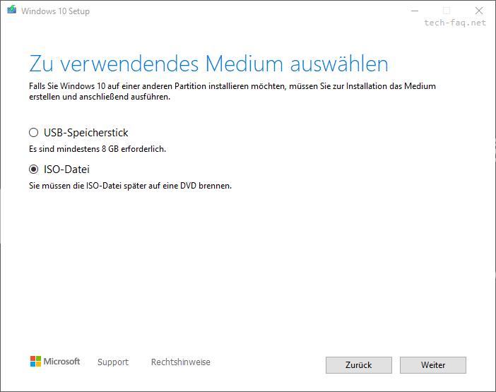 Windows 10 als ISO Datei herunterladen