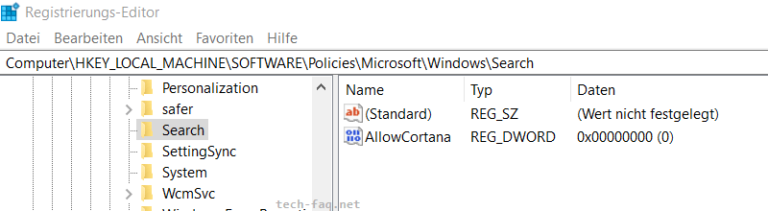 Cortana deaktivieren in Windows