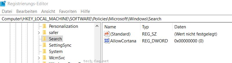 Cortana in der Windows Registry abschalten