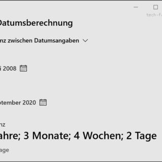 Datum berechnen mit Windows Rechner