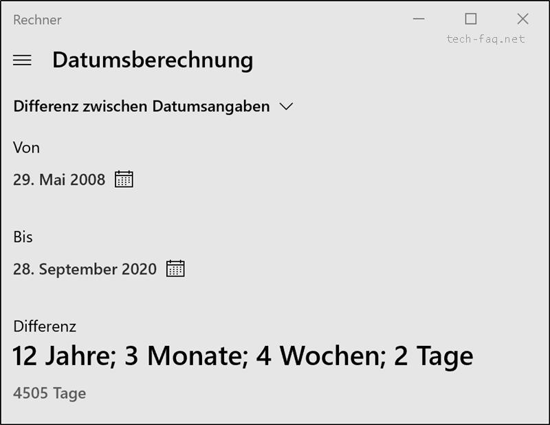 Datum berechnen mit Windows 10