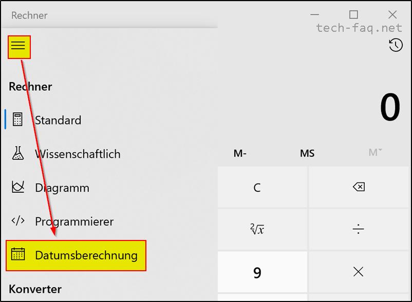 Datumsberechnung mit Windows 10 Bordmitteln.